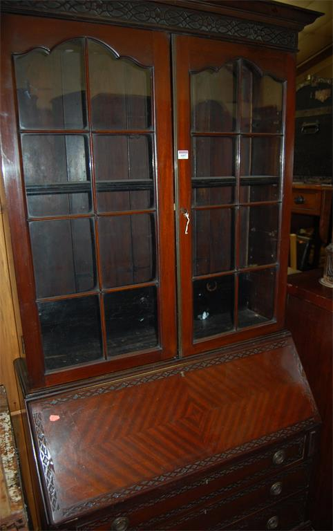 An Edwardian mahogany bureau bookcase