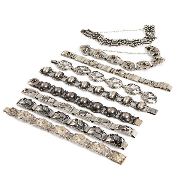 Nine silver and sterling silver bracelets