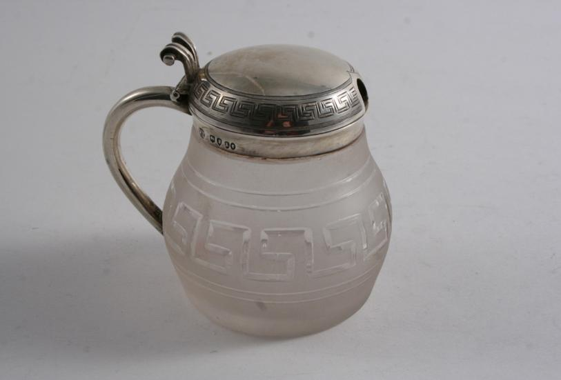A VICTORIAN MOUNTED FROSTED GLASS MUSTARD POT