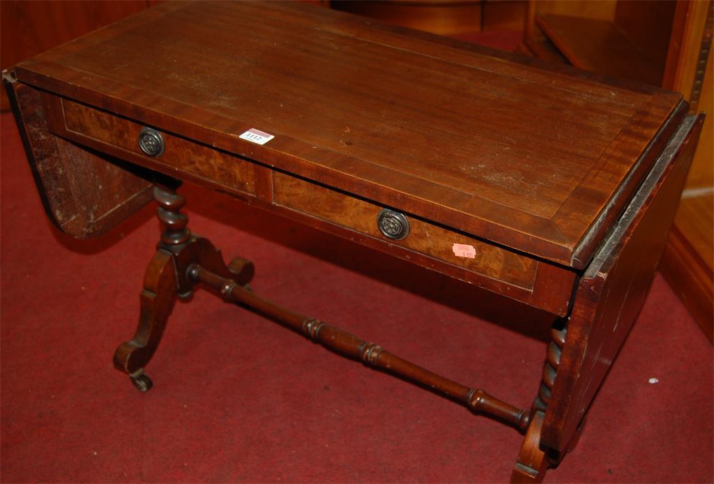 A small 19th century mahogany round cornered dropflap sofa table
