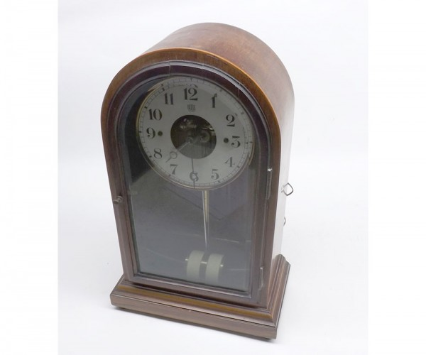 """Early 20th century boulle patent electric mantel clock in arched glazed case, approx 13 ½"""" high in total"""