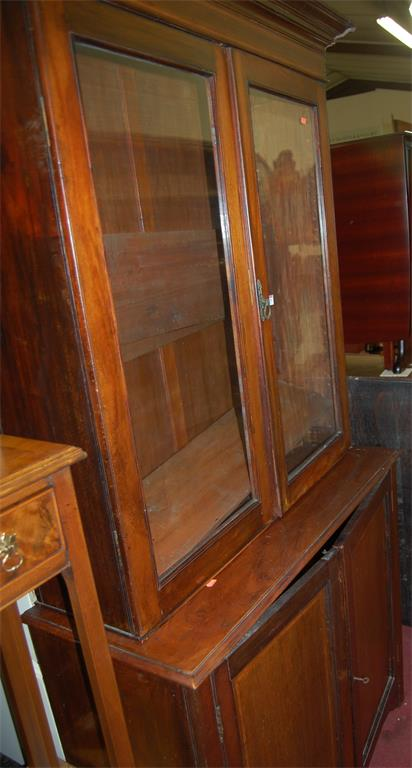 A Victorian mahogany bookcase cupboard, having twin door glazed upper section