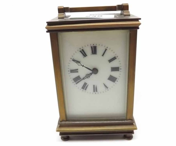 20th century brass four-glass carriage clock, fitted with lever platform escapement, unsigned