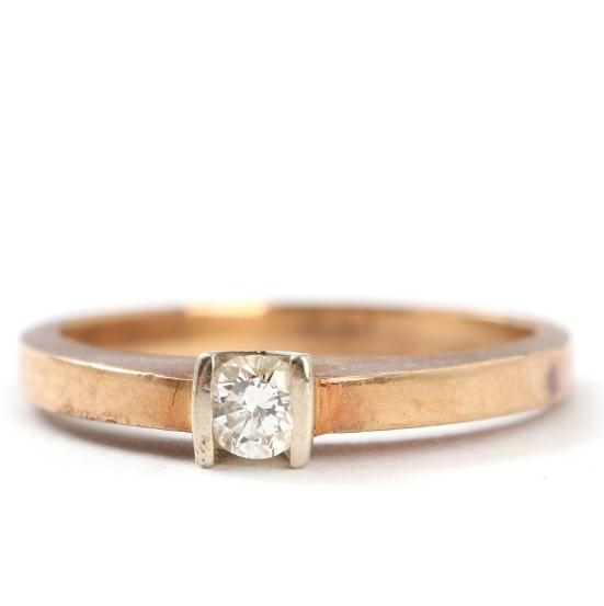 Diamond ring set with a brilliant-cut diamond weighing 0.20 ct. mounted in 14k gold. Weight app. 4 gr. Size 56