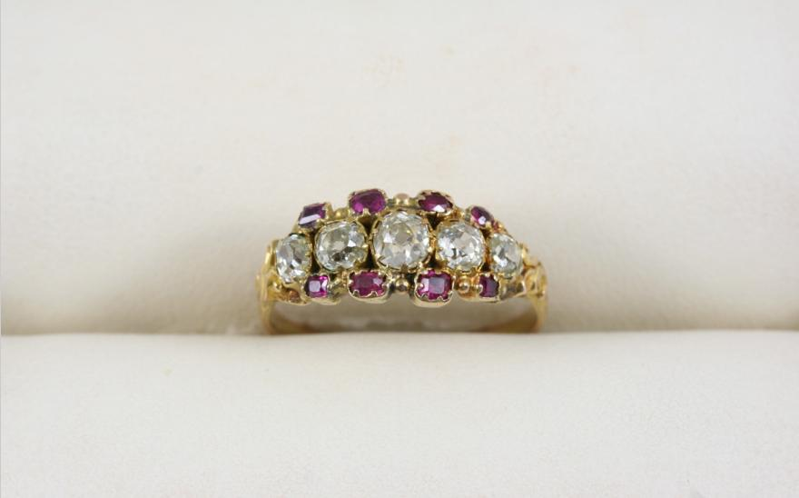A VICTORIAN DIAMOND AND RUBY RING