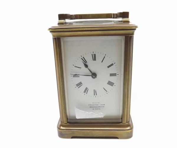"20th century brass four-glass carriage clock, 4 ¾"" high, retailers mark to face ""Primavesi & Sons, Bournemouth and Paris"" 20th c"