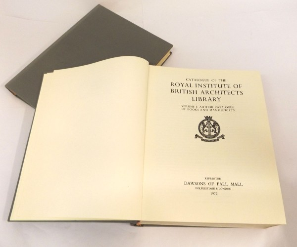 CATALOGUE OF THE ROYAL INSTITUTE OF BRITISH ARCHITECTS LIBRARY – author catalogue – classified index and alphabetical subject in