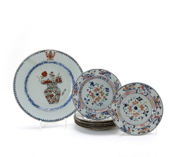 Collection of Chinese armorial dish and plates for the Partridge family