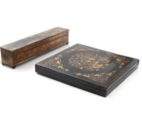 Two Oriental black lacquered document/scroll boxes