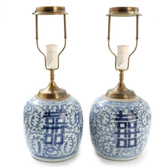A pair of Oriental porcelain jars converted into table lamps