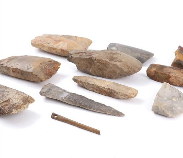 A collection of Danish Neolithic artefacts, consisting of a greyish flint daggert, a chisel, fragments of flint axes, and a need