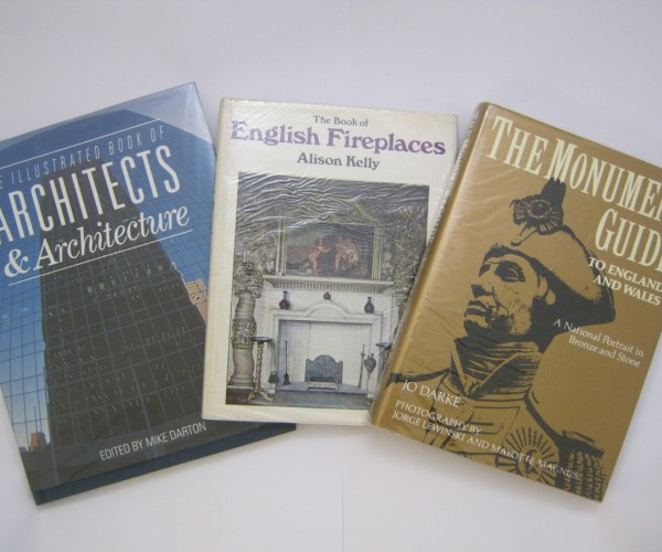 THE BOOK OF ENGLISH FIREPLACES, 1968, 1st edition, original cloth gilt dust wrapper + JO DARKE: THE MONUMENT GUIDE TO ENGLAND AN