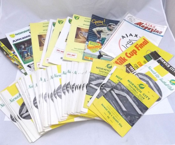 PACKET 65+ Norwich City FC programmes circa 1963 to 1969, + Norwich City FC v Tottenham League Cup Final 1973, Norwich City FC v