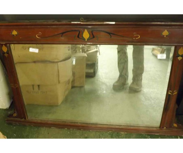 """Late 19th century mahogany overmantel mirror, frame decorated with Art Nouveau style inlays, 40"""" wide"""