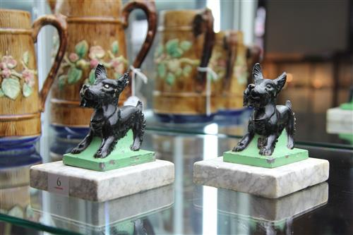 Marble Based Pair of Scottie Dog Bookends