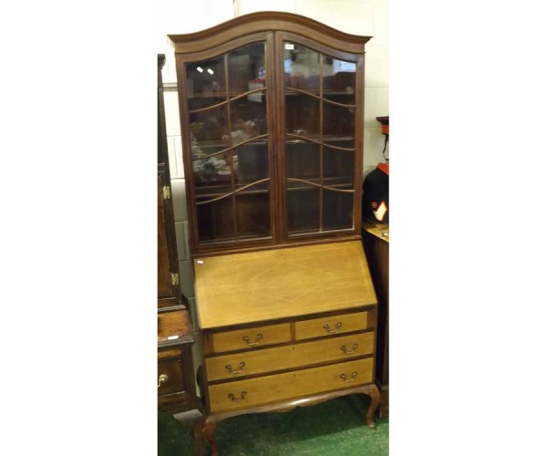 Edwardian mahogany and inlaid bureau bookcase cabinet, the glazed top section over a base with fall front and two short and two