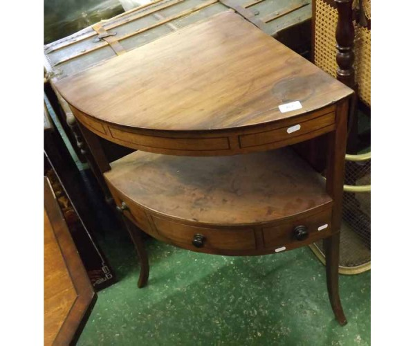 19th century mahogany corner wash stand with hinged lift off top, central frieze drawer and two dummy drawers, raised on swept l