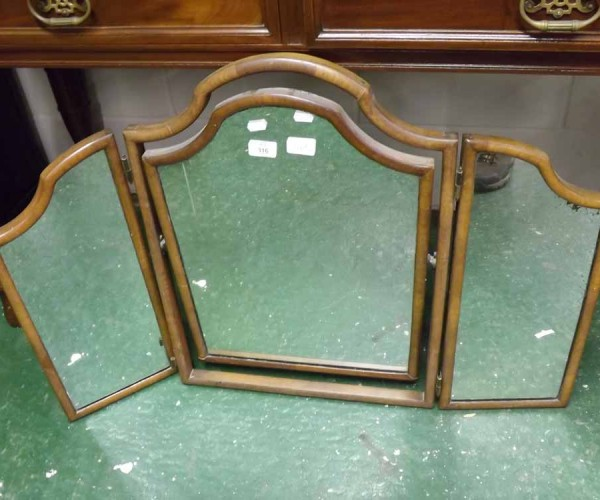 20th century walnut framed triple dressing table mirror