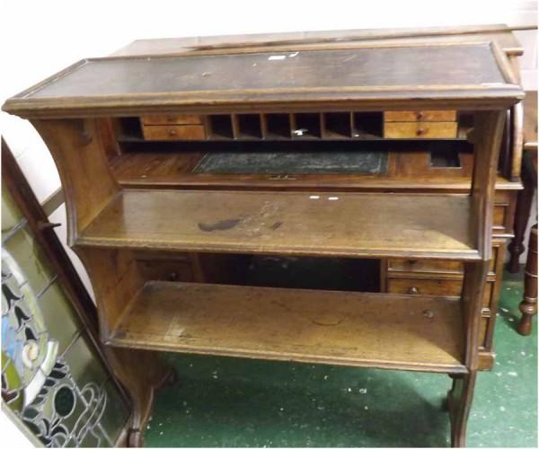 19th century oak three shelf side cabinet, possible vintage hat shelf