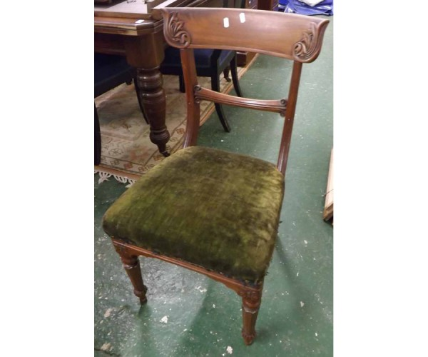 Set of four Victorian mahogany bar back dining chairs raised on tapering fluted legs