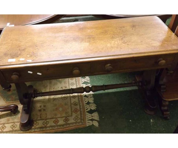 Victorian mahogany two drawer side table, turned knobbed handles, stretcher base and circular pad feet