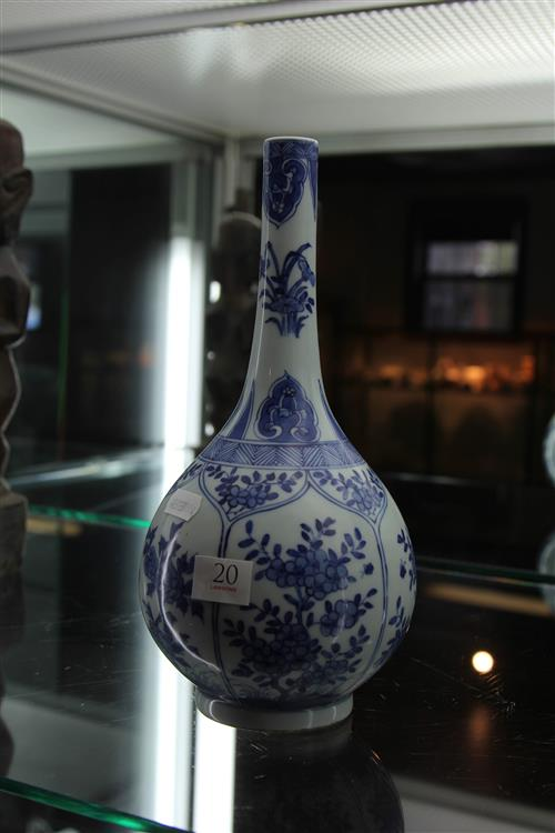 Chinese Blue & White Vase with Floral Detail