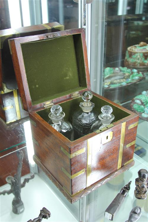 Vintage Mahogany Box with Decanters