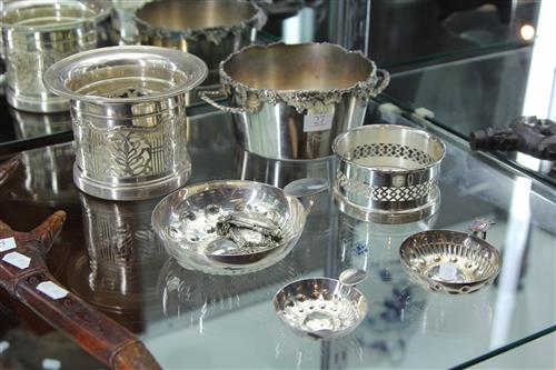 Silver Plated Bottle Coasters & Labels & French Wine Tasters