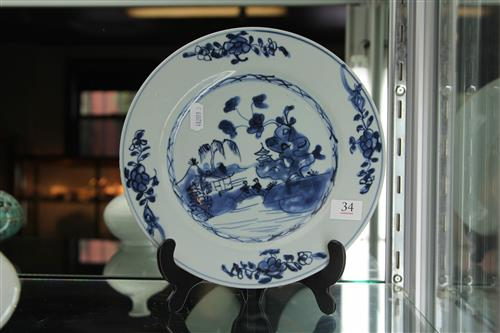 Qianlong Period Blue & White Export Ware Plate with painted detail of a landscape scene to the centre & flowers to the rim