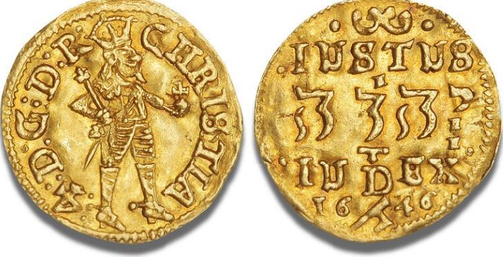 1/4 dukat 1646, H 36, S 10, F 41 - nydeligt eksemplar af denne sjældne hebræertype