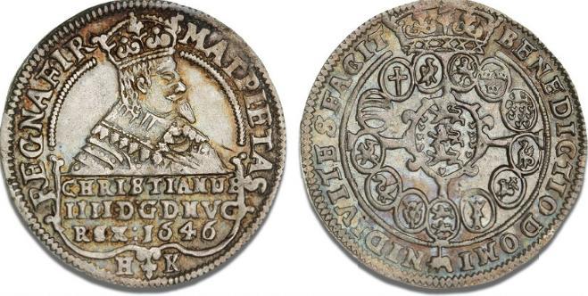 1/2 speciedaler 1646, H 59C, S 36, ex. Kühl, 64 - smukt, let tonet eksemplar af Heinrich Köhlers sjældne halvspecie