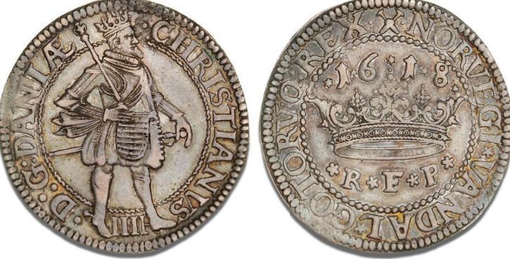 Krone 1618, H 106B, S 44, Sieg 84.8 - fint tonet eksemplar
