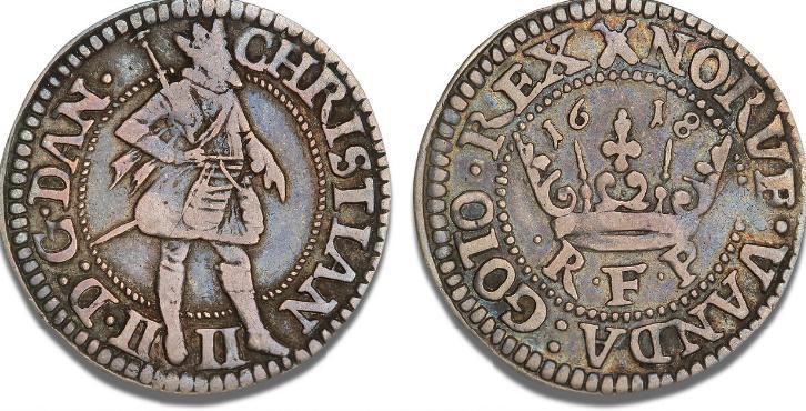1/4 krone 1618, H 108B, S 80 - pænt eksemplar af denne sjældne type