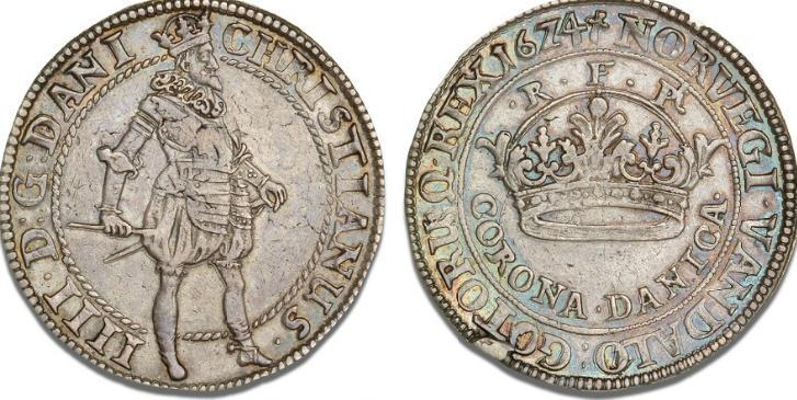 "2 krone 1624, H 124, S 30, Dav. 3518 - fint tonet eksemplar af den sjældne, tykke ""Corona Danica"""