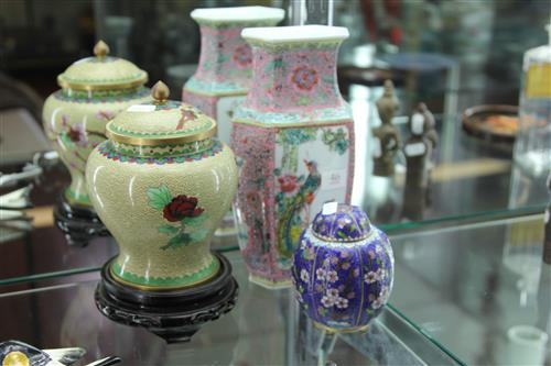 Cloisonne Vase on Stand with Another & a Chinese Vase