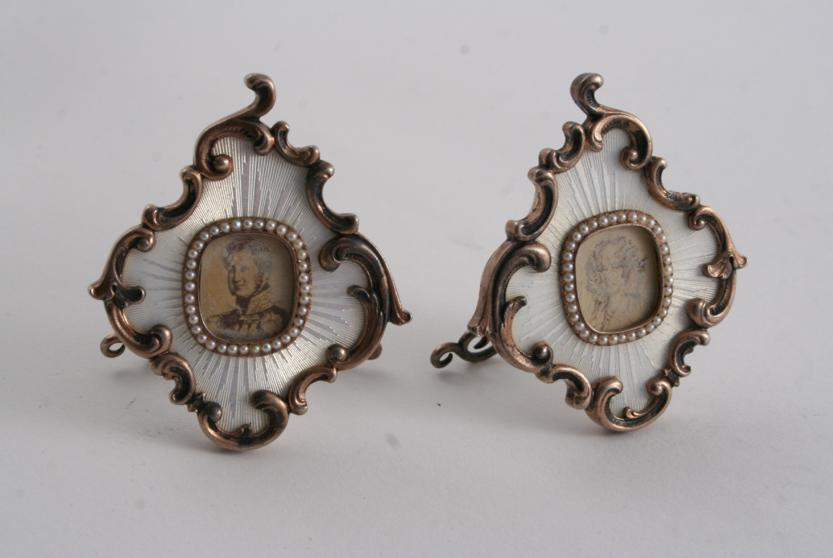 TWO SMALL CONTEMPORARY REPRODUCTIONS OF RUSSIAN SILVERGILT & ENAMEL FRAMES