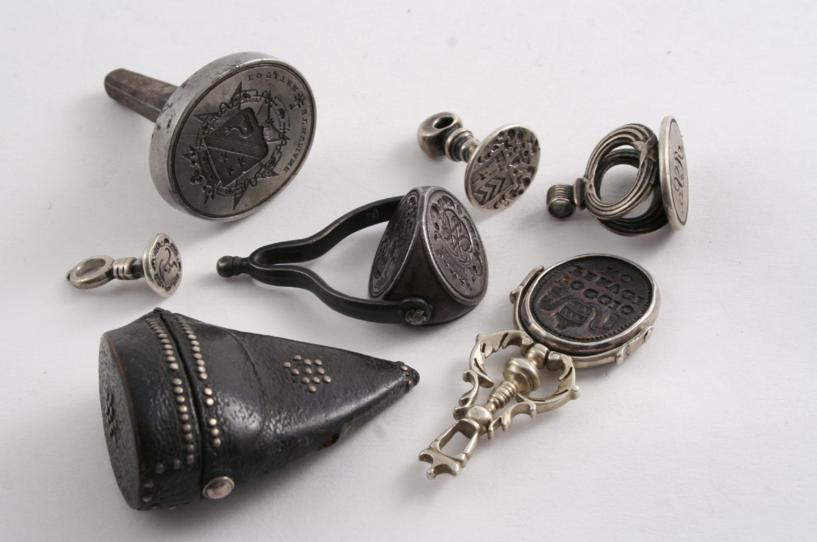 An early 18th century leather seal case with pique-work