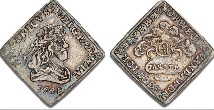 1/6 speciedaler 1648, H 48, S 34, Aagaard 68.1 - fin patina