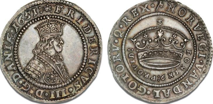 Krone 1651, H 84A, Aagaard 6.2, Dav. 3567 - smukt tonet eksemplar