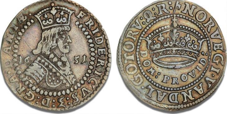 1/2 krone 1651, H 86, Aagaard 118.1 - pænt eksemplar af denne sjældne étårstalstype