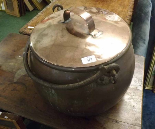 Large 19th century copper cauldron, with looped iron handle, fitted lid