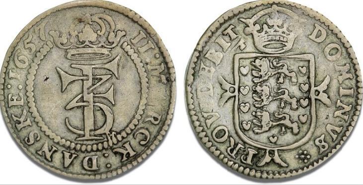 2 mark 1657, H 97B, S 36, Aagaard 130.1 - sjælden