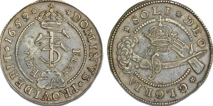 4 mark / krone 1659, H 98, S 32, Aagaard 74.1