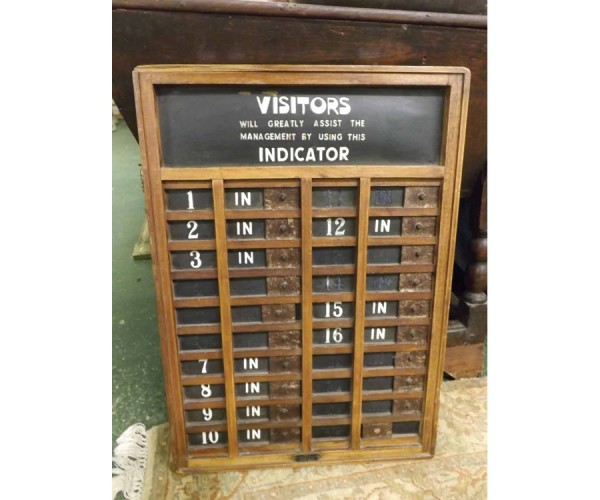 Early 20th century wall mounted visitors indicator board
