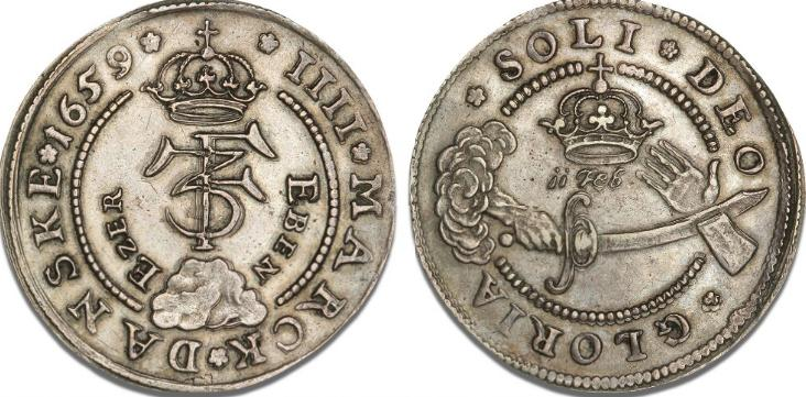 "4 mark / krone 1659 ""Eben Ezer"", H 100A, S 34, Aagaard 76.3"