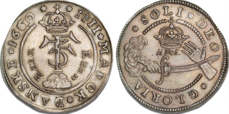 "4 mark / krone 1659 ""Eben Ezer"", H 100B, S 36, Aagaard 77.1"