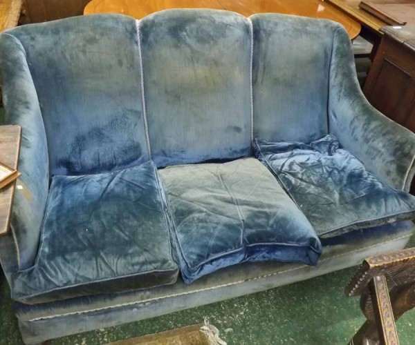 Late 19th or early 20th century blue upholstered high back three seater sofa