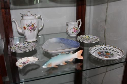Royal Crown Derby ''Posies'' Teapot with Other Ceramics incl. Noritake Fish
