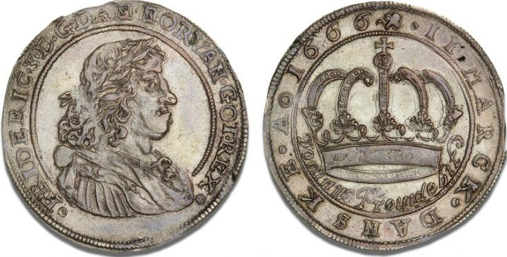 2 mark / halvkrone 1666, H 110B, S 99, Aagaard 134.3, Sieg 39.2 - smukt eksemplar