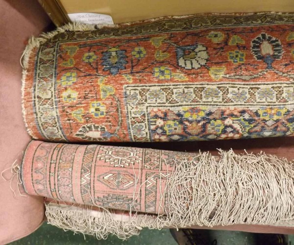 19th century Persian floor rug, decorated with stylised floral and geometric detail